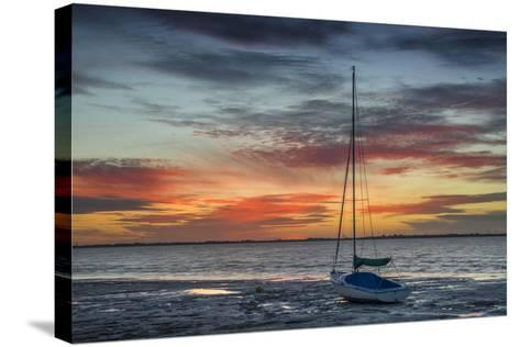 Evening Light with Sailboat at the Wadden Sea, Dangast, Jade Bay, the North Sea, Frisia-Axel Ellerhorst-Stretched Canvas Print