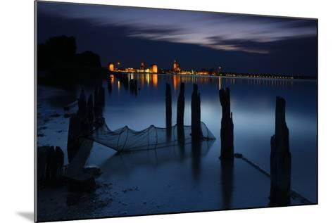 View Above the Strelasund on Stralsund at Night, Mecklenburg-West Pomerania, Germany-Andreas Vitting-Mounted Photographic Print