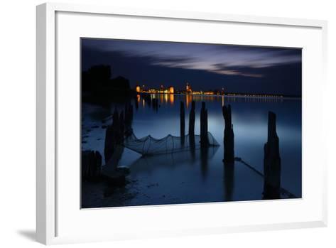 View Above the Strelasund on Stralsund at Night, Mecklenburg-West Pomerania, Germany-Andreas Vitting-Framed Art Print