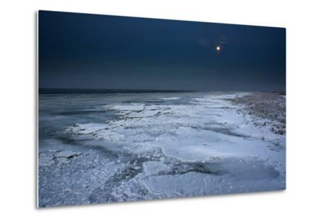 Ice Floes Iat the Wadden Sea, Moonlight, Dangast, Jade Bay, the North Sea-Axel Ellerhorst-Metal Print