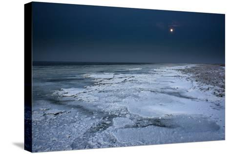 Ice Floes Iat the Wadden Sea, Moonlight, Dangast, Jade Bay, the North Sea-Axel Ellerhorst-Stretched Canvas Print