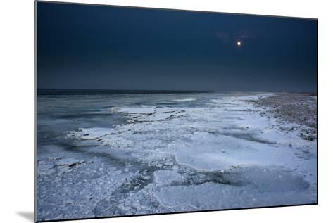 Ice Floes Iat the Wadden Sea, Moonlight, Dangast, Jade Bay, the North Sea-Axel Ellerhorst-Mounted Photographic Print