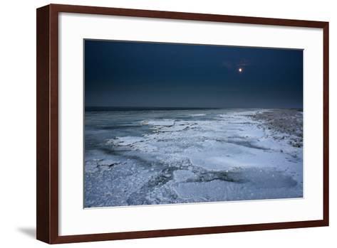 Ice Floes Iat the Wadden Sea, Moonlight, Dangast, Jade Bay, the North Sea-Axel Ellerhorst-Framed Art Print