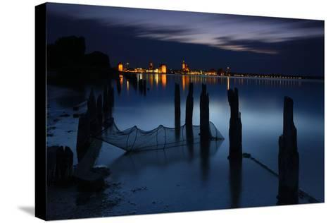 View Above the Strelasund on Stralsund at Night, Mecklenburg-West Pomerania, Germany-Andreas Vitting-Stretched Canvas Print