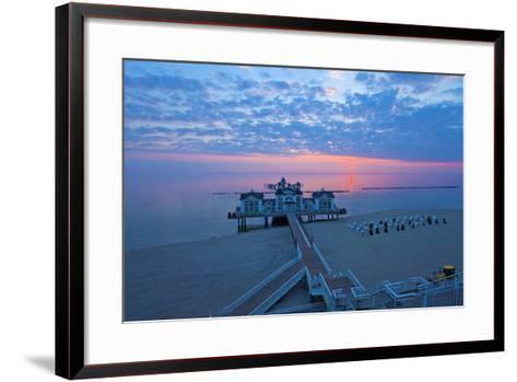 Europe, Germany, Mecklenburg-Western Pomerania, RŸgen, Bathing Place Sellin, Pier, Daybreak-Chris Seba-Framed Art Print