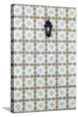 Floral Tile Pattern at Wall of a House, Sintra, Lisbon, Portugal-Axel Schmies-Stretched Canvas Print