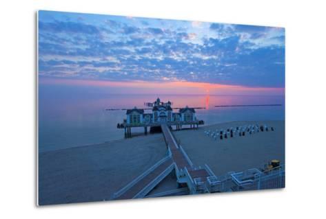 Europe, Germany, Mecklenburg-Western Pomerania, RŸgen, Bathing Place Sellin, Pier, Daybreak-Chris Seba-Metal Print