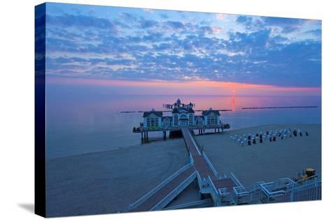 Europe, Germany, Mecklenburg-Western Pomerania, RŸgen, Bathing Place Sellin, Pier, Daybreak-Chris Seba-Stretched Canvas Print