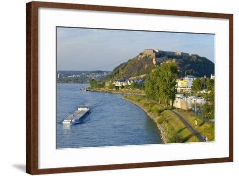 Germany, Rhineland-Palatinate, Koblenz, Rhine Shore, Ehrenbreitstein Fortress, Harbour, Freighter-Chris Seba-Framed Art Print