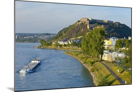 Germany, Rhineland-Palatinate, Koblenz, Rhine Shore, Ehrenbreitstein Fortress, Harbour, Freighter-Chris Seba-Mounted Photographic Print