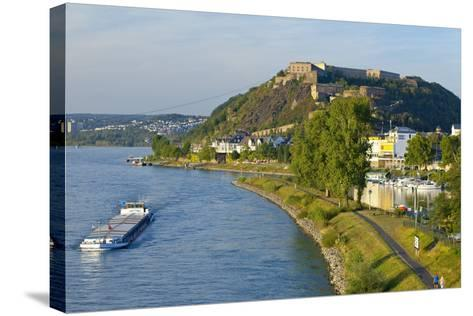 Germany, Rhineland-Palatinate, Koblenz, Rhine Shore, Ehrenbreitstein Fortress, Harbour, Freighter-Chris Seba-Stretched Canvas Print