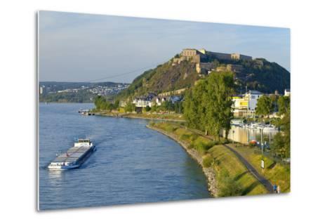 Germany, Rhineland-Palatinate, Koblenz, Rhine Shore, Ehrenbreitstein Fortress, Harbour, Freighter-Chris Seba-Metal Print