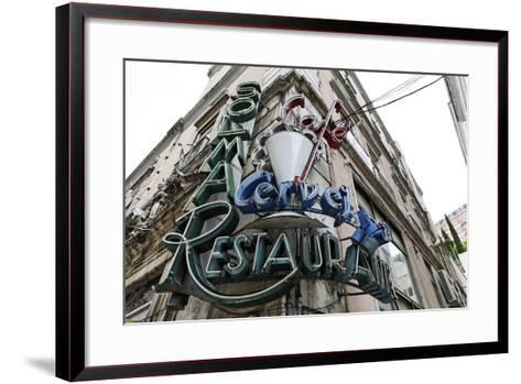 Decayed Restaurant, Neon Sign, Avenida Da Liberdade, District Sao Jose, Lisbon, Portugal-Axel Schmies-Framed Art Print