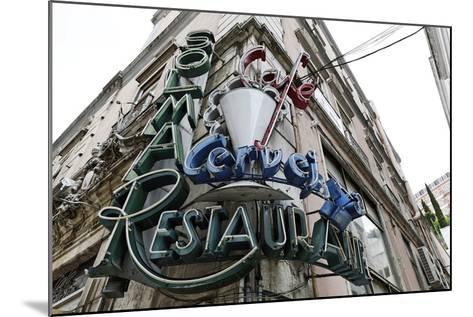 Decayed Restaurant, Neon Sign, Avenida Da Liberdade, District Sao Jose, Lisbon, Portugal-Axel Schmies-Mounted Photographic Print