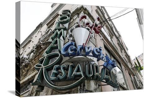Decayed Restaurant, Neon Sign, Avenida Da Liberdade, District Sao Jose, Lisbon, Portugal-Axel Schmies-Stretched Canvas Print