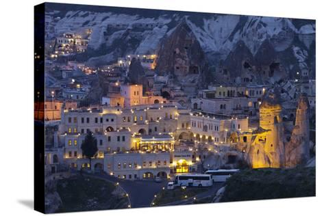 Town View of Gšreme at Night, Cappadocia, Anatolia, Turkey-Rainer Mirau-Stretched Canvas Print