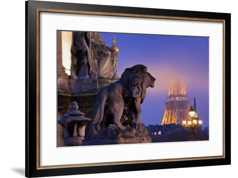 France, Paris, Ile De France, Pont Alexandre Iii, Eiffel Tower, Street Lamps, Evening-Rainer Mirau-Framed Art Print