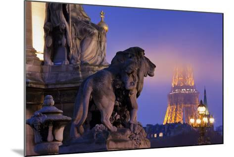 France, Paris, Ile De France, Pont Alexandre Iii, Eiffel Tower, Street Lamps, Evening-Rainer Mirau-Mounted Photographic Print