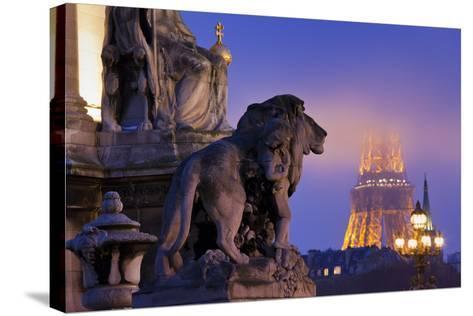 France, Paris, Ile De France, Pont Alexandre Iii, Eiffel Tower, Street Lamps, Evening-Rainer Mirau-Stretched Canvas Print