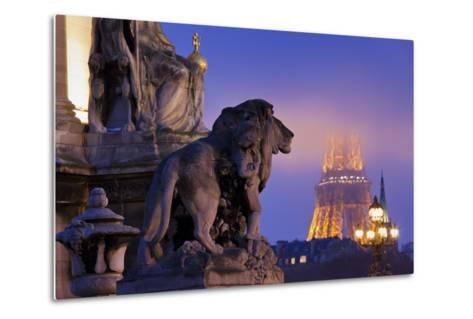 France, Paris, Ile De France, Pont Alexandre Iii, Eiffel Tower, Street Lamps, Evening-Rainer Mirau-Metal Print