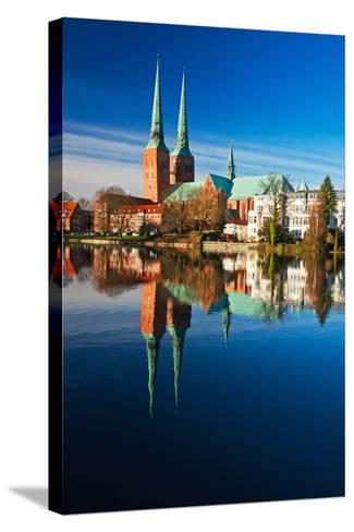 Mill Pond in LŸbeck, Cathedral, Reflexion-Thomas Ebelt-Stretched Canvas Print