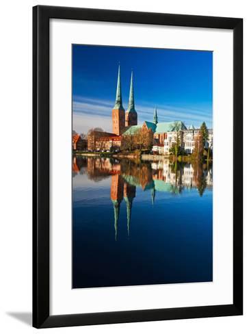 Mill Pond in LŸbeck, Cathedral, Reflexion-Thomas Ebelt-Framed Art Print