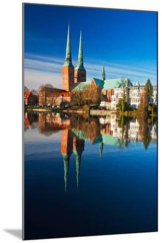 Mill Pond in LŸbeck, Cathedral, Reflexion-Thomas Ebelt-Mounted Photographic Print