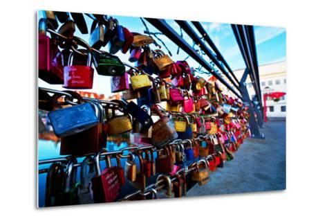 Love Locks at the Railing of the Travebr?cke in L?beck-Thomas Ebelt-Metal Print