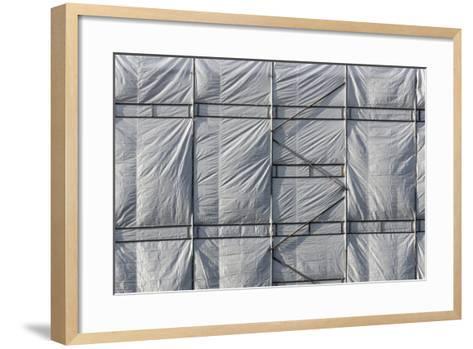 Hamburg, Construction Site, Scaffolding, Tarpaulin-Catharina Lux-Framed Art Print