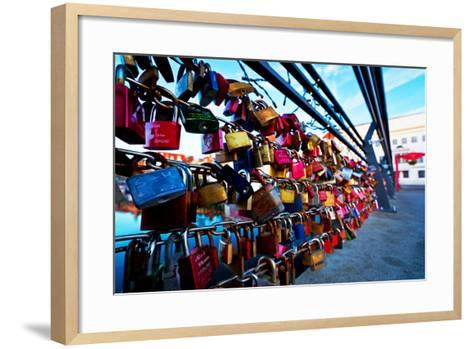 Love Locks at the Railing of the Travebr?cke in L?beck-Thomas Ebelt-Framed Art Print