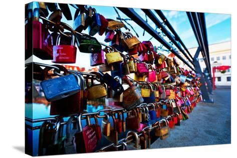 Love Locks at the Railing of the Travebr?cke in L?beck-Thomas Ebelt-Stretched Canvas Print