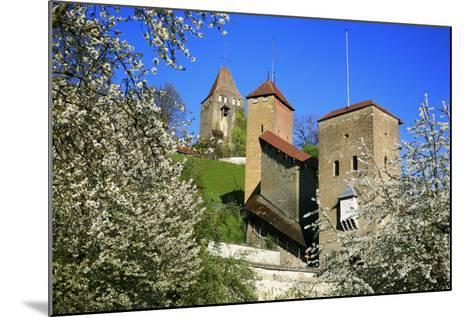 Switzerland, Spring in Fribourg on the Sarine River, Cats Tower and Berne Gate-Uwe Steffens-Mounted Photographic Print