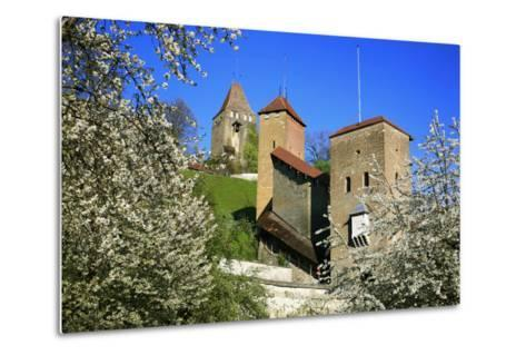 Switzerland, Spring in Fribourg on the Sarine River, Cats Tower and Berne Gate-Uwe Steffens-Metal Print