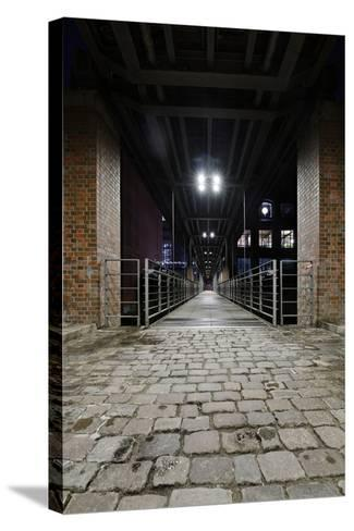 Under the KibbelstegbrŸcke (Bridge) by Night, Speicherstadt (City of Warehouses), Germany-Axel Schmies-Stretched Canvas Print
