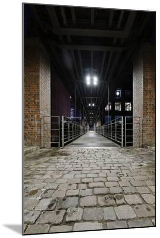 Under the KibbelstegbrŸcke (Bridge) by Night, Speicherstadt (City of Warehouses), Germany-Axel Schmies-Mounted Photographic Print