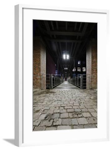 Under the KibbelstegbrŸcke (Bridge) by Night, Speicherstadt (City of Warehouses), Germany-Axel Schmies-Framed Art Print