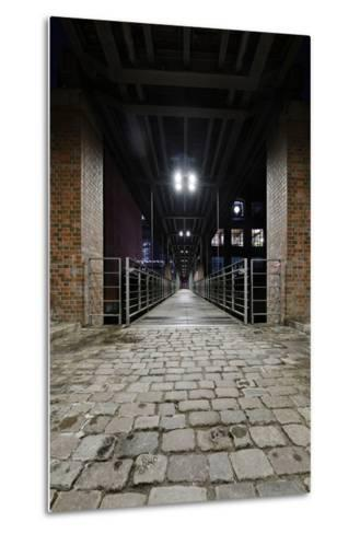 Under the KibbelstegbrŸcke (Bridge) by Night, Speicherstadt (City of Warehouses), Germany-Axel Schmies-Metal Print