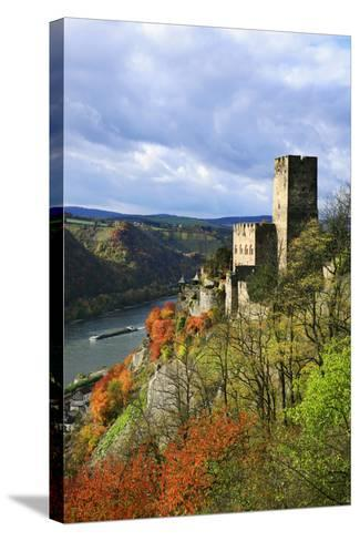 Castle Gutenfels High Above the Rhine, Autumn, on the Bottom Left the Town Kaub-Uwe Steffens-Stretched Canvas Print