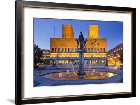 Norway, Oslo, City Hall, Well, Lighting, Dusk-Rainer Mirau-Framed Art Print