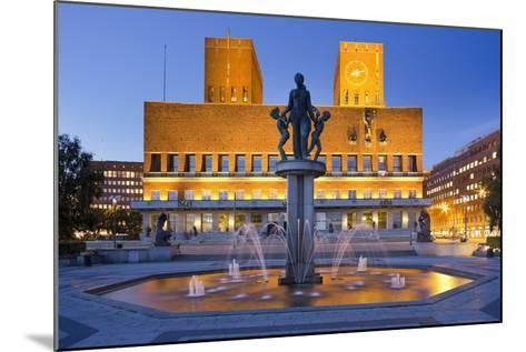 Norway, Oslo, City Hall, Well, Lighting, Dusk-Rainer Mirau-Mounted Photographic Print
