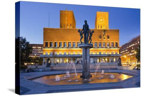 Norway, Oslo, City Hall, Well, Lighting, Dusk-Rainer Mirau-Stretched Canvas Print