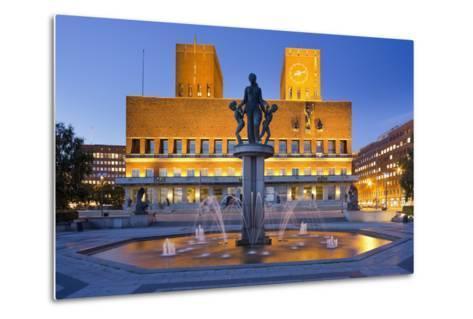 Norway, Oslo, City Hall, Well, Lighting, Dusk-Rainer Mirau-Metal Print