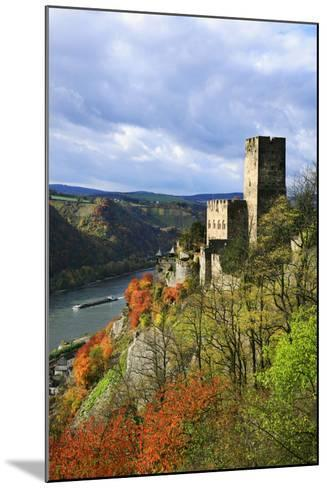 Castle Gutenfels High Above the Rhine, Autumn, on the Bottom Left the Town Kaub-Uwe Steffens-Mounted Photographic Print
