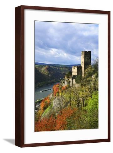 Castle Gutenfels High Above the Rhine, Autumn, on the Bottom Left the Town Kaub-Uwe Steffens-Framed Art Print