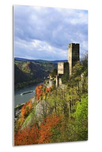 Castle Gutenfels High Above the Rhine, Autumn, on the Bottom Left the Town Kaub-Uwe Steffens-Metal Print