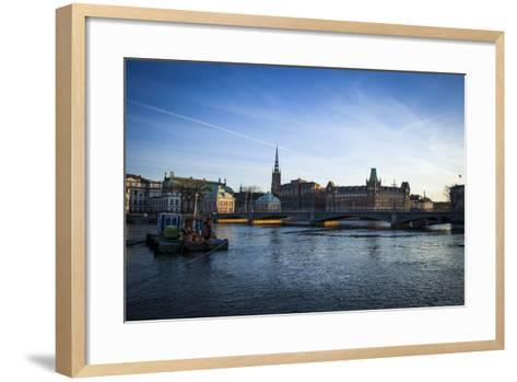 View on Riddarholmen with Riddarhuset, Riddarholmskyrkan and Norstedtshuset, Stockholm-Frina-Framed Art Print