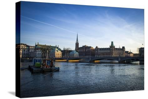 View on Riddarholmen with Riddarhuset, Riddarholmskyrkan and Norstedtshuset, Stockholm-Frina-Stretched Canvas Print