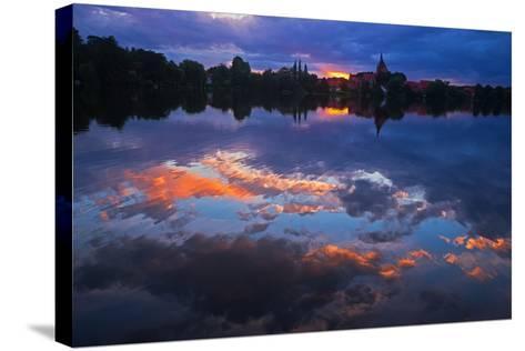 Evening Mood at the M?llner Schulsee Lake-Thomas Ebelt-Stretched Canvas Print