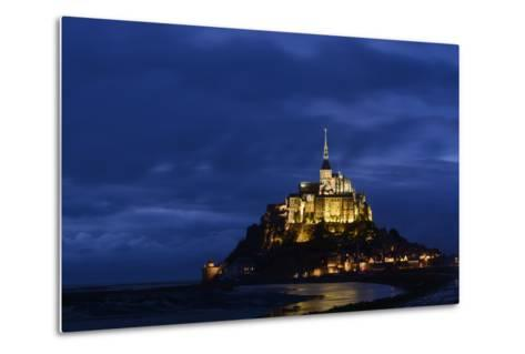 France, Lower Normandy, Manche, Mont Saint Michel by Night-Andreas Keil-Metal Print