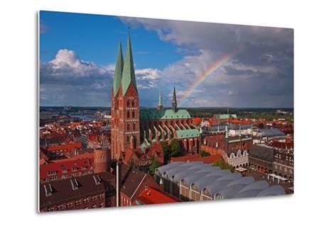 Germany, Schleswig-Holstein, City Center of LŸbeck, Overview, Rainbow-Thomas Ebelt-Metal Print